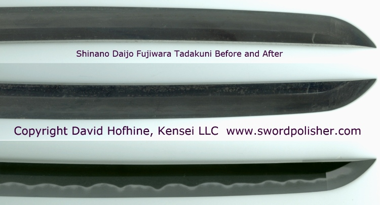 Shinano Daijo Fujiwara Tadakuni Before and After polished by David Hofhine