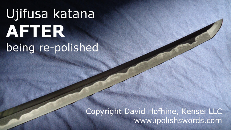 Longer view of re-polish of Ujifusa katana